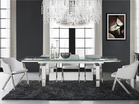 Cloud Collection CBD2048SSASET 6 PC Dining Room Set with Extendable Clear Glass Top Dining Table and 5 White Eco-Leather Upholstered Dining