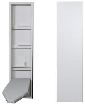 "NE46FWU 15"" Ironing Center with 46"" Ventilated Board  Garment Bar  Full Length Piano Hinge  and Hot Iron Storage: Flat White"