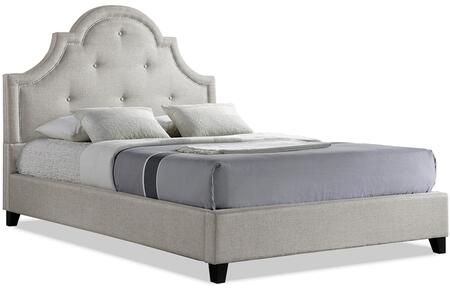 Baxton Studio BBT6433-Light Beige-Full Colchester Modern Platform Bed with Scalloped Button Tufted Headboard  Silver Nail Head Trim  Tapered Legs and Fabric