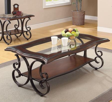 Hughie 80760CE 2 PC Living Room Table Set with Coffee Table + End Table in Cherry Brown