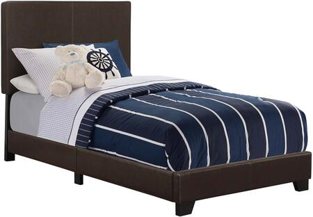 Dorian Collection 300762T Twin Size Panel Bed with Faux Leather Upholstery  Clean Line Design  Solid Wood Legs  Tall Headboard and Low Profile Footboard in