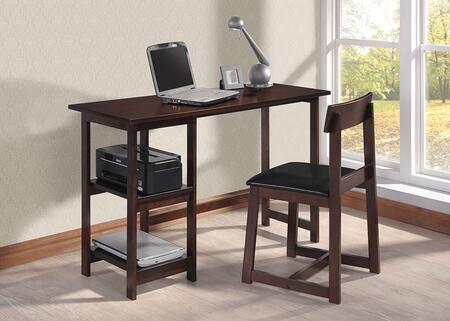 Vance Collection 92046 2 PC Desk and Chair Set with 2 Shelves Compartments  Single Slat Backrest Chair  Faux Leather Seat Cushion and Solid Wood Construction