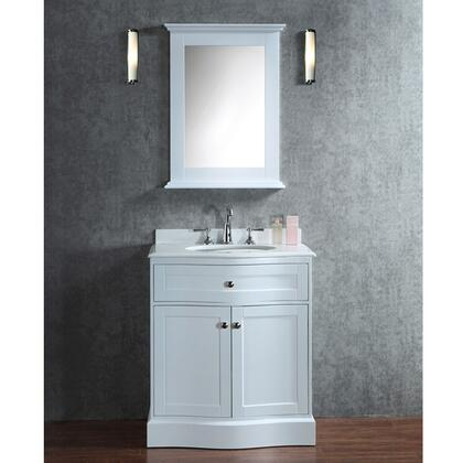 SC-MON-30-SWH Seacliff by ARIEL Montauk 30 inch  Single Sink Vanity Set with Quartz Top and Simple Pulls in