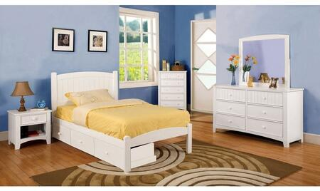 Caren Collection CM7902WHFSBDMCN 5-Piece Bedroom Set with Full Storage Bed  Dresser  Mirror  Chest  and Nightstand in White