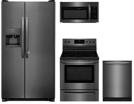 4-Piece Kitchen Package with FFSS2615TD 36 inch  Side by Side Refrigerator  FFEF3054TD 30 inch  Freestanding Electric Range  FFMV1645TD 30 inch  Microwave Oven  and