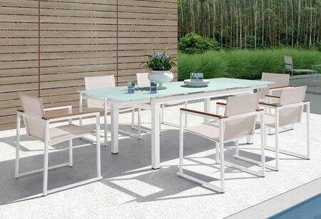 Vgmgsago Renava Sago 7 Pc Outdoor Dining Set With 6 Weather Resistant Mesh Chairs  Extendable Glass Top Dining Table  Plastic Wood Armrests And Aluminum Frame