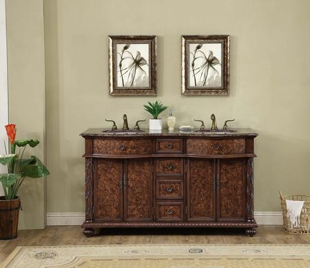 GM-5116-60-BB 60 Inch Amelia Double Sink Vanity With Baltic Brown Granite
