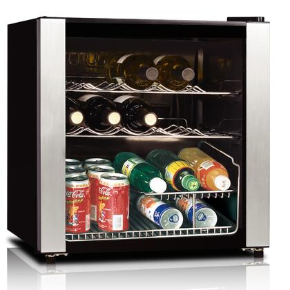 HS-64W 16 Bottle Wine Cooler with See-through Glass Door  Slide-out Chrome Shelves  Single Zone Mechanical Control and Adjustable Thermostat in