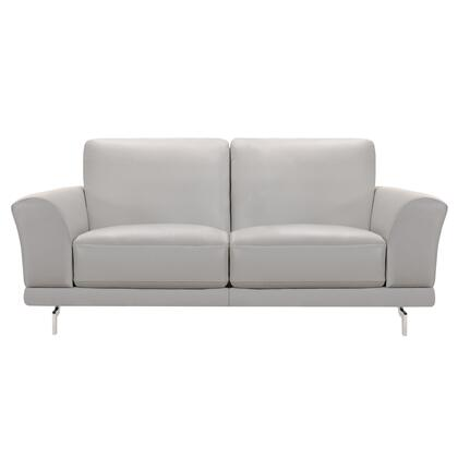 Everly Collection LCEV2GR Contemporary Loveseat in Genuine Dove Grey Leather with Brushed Stainless Steel