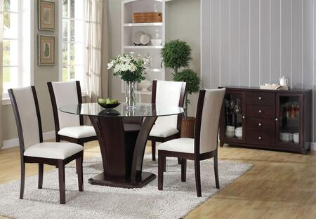 Malik Collection 70510T4WCS 6 PC Bar Table Set with Counter Height Table + 4 White PU Chairs + Server in Espresso