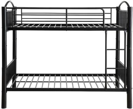 Cayelynn Collection 37385BK Twin Over Twin Size Bed with Built-in Front Ladder  Easy Access Guard-Rail  Slatted Panels  Slat System Included and Metal Tube