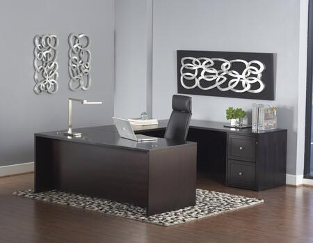 1C200006EDES Espresso U-Shaped Executive Desk w/ Mobile
