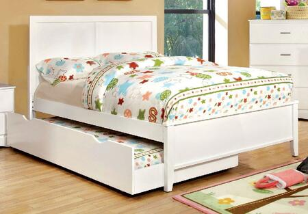 Prismo Collection CM7941WH-F-BED+TR Full Size Platform Bed with Trundle  Low Profile Footboard  Tapered Legs and Wood Construction in