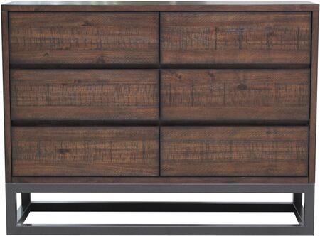 DS-D146-003 Modern Industrial Drawer Dresser with Six Drawers  Metal Base and Heavy Distressing in Medium Wood Tone