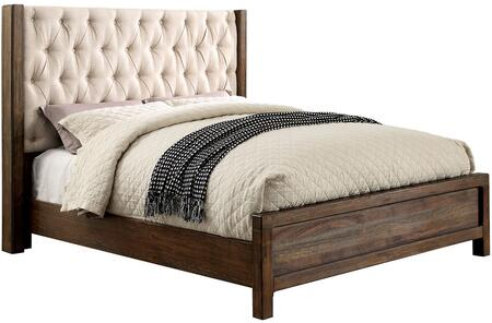Hutchinson Collection CM7577EK-BED Eastern King Size Panel Bed with Diamond Tufting  Wingback Headboard  Fabric Upholstery and Wood Veneer Construction in