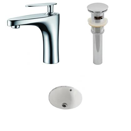 AI-13205 15.5-in. Width x 15.5-in. Diameter CUPC Round Undermount Sink Set In Biscuit With Single Hole CUPC Faucet And