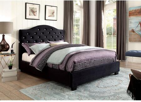 Betelgeuse Collection CM7421BK-CK-BED California King Size Platform Bed with LED Lights  Button Tufted Headboard  Camelback Design  Solid Wood Construction and