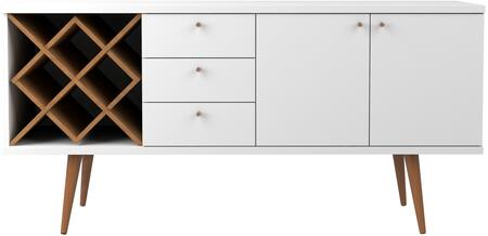 1010451 Utopia 4 Bottle Wine Rack Sideboard Buffet Stand with 3 Drawers and 2 Shelves in White Gloss and Maple