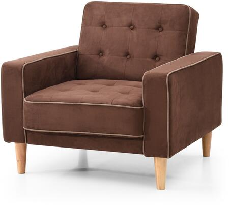 Navi Collection 43 inch  Sleeper Chair with Tapered Wood Legs  Track Arms  Button Tufted Cushions  Heavy Duty Springs and Micro Suede Upholstery in Chocolate
