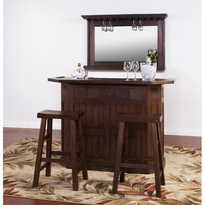 Savannah 2421AC Bar with Natural Slate  2 Doors  2 Drawers  Wine Racks and Glass holders in Antique