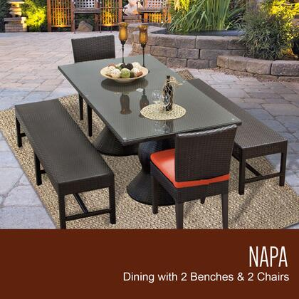 NAPA-RECTANGLE-KIT-2C2B-C-TANGERINE Napa Rectangular Outdoor Patio Dining Table With 2 Chairs and 2 Benches with 2 Covers: Wheat and
