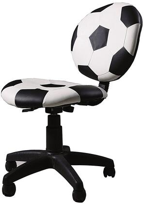 All Star Collection 59080 32 inch  - 37 inch  Youth Office Soccer Chair with Pneumatic Lift  Adjustable Height  Swivel Seat  Black Caster Base and Bycast PU Leather