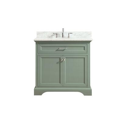 MERCER-VS36-SG-C Mercer 37 inch  Vanity in Sea Green Finish with Carrera White Marble