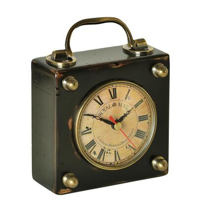 SC045 Carriage Clock 2.5 with Brass & Wood Material  in Black/Distressed French
