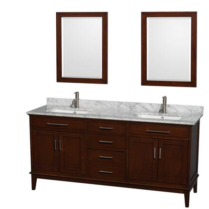 Wcv161672dcdcmunsm24 72 In. Double Bathroom Vanity In Dark Chestnut  White Carrera Marble Countertop  Undermount Square Sinks  And 24 In.