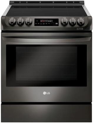 LSE4616BD Slide In Range with Induction Cooktop  6.3 cu. ft. Capacity  Double Oven  ProBake  and Self EasyClean  in Black Stainless