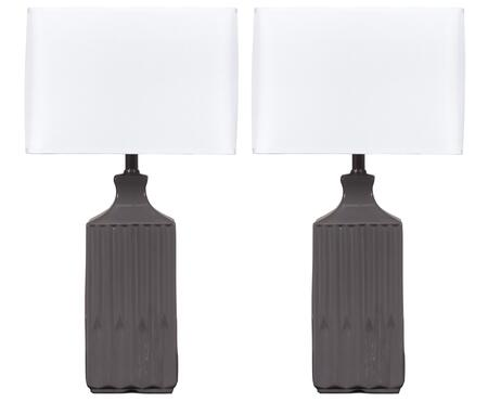 "Patience L121844 Set of 2 25"""" Tall Ceramic Table Lamps with Ribbed Textured Body  Square Hardback Shade and 3-Way Switch in"" 367073"