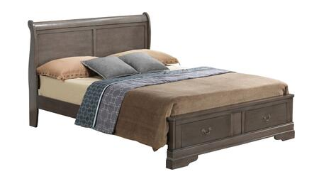 G3105D-FSB2 Full Size Storage Bed with Molding Details  Dove Tail Drawers  Sleigh Headboard and Decorative  Hardware  in