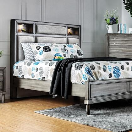 Daphne Collection CM7556EK-BED Eastern King Size Bed with Built-in Touch Light  Padded Fabric Headboard  Headboard  Solid Wood and Wood Veneers Construction in