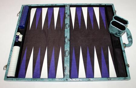 MPYT102LBL 18 inch  Backgammon Set with Instructions  Dice  Playing Cups  and Chips: Metallic Python Light