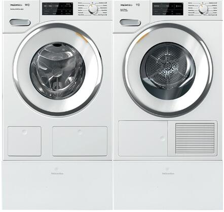White Front Load Laundry Pair with WWH660WCS 24 inch  Front Load Washer  TWI180WP 24 inch  Electric Dryer