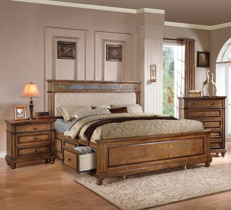 Arielle Collection 24454CK3SET 3 PC Bedroom Set with California King Size Bed  Chest and Nightstand in Oak
