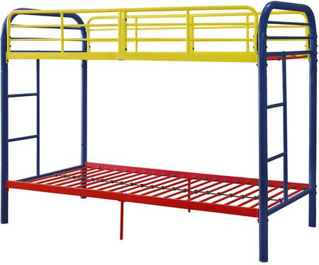 Thomas Collection 02178RNB Twin Over Twin Bunk Bed with Built-in Side Ladders  Slat System Included  Full Length Guardrail and Metal Tube Frame in Rainbow