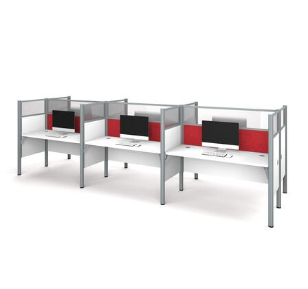 100873DR-17 Pro-Biz Six workstation in White with Red Tack