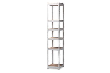 WH12-White-Shelf Baxton Studio Gavin Modern and Contemporary White Metal 5-Shelf Closet Storage Racking