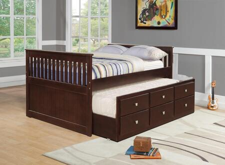 303FCP Full Mission Captains Bed with Full Trundle  3 Drawers and Silver Knobs in Cappuccino