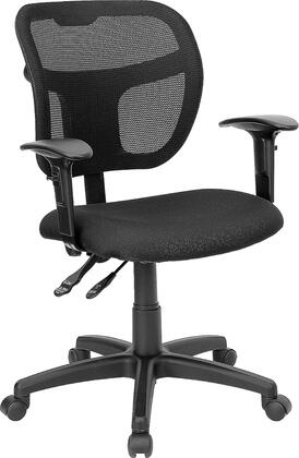 WL-A7671SYG-BK-A-GG Mid-Back Mesh Task Chair with Black Fabric Seat and