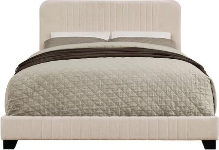 DS-D121-291-506 Mid-Century All-in-One King Bed with Channeled Headboard  Footboard and Side Rails in Dupree