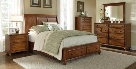 Hayden Place Collection 4 Piece Bedroom Set With Queen Size Storage Sleigh Bed + 1 Nightstands + Dresser + Mirror: