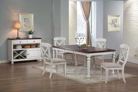 Andrews Collection DLU-ADW4276-C12-SRAW6PC 6-Piece Dining Room Set with Buttefly Leaf Dining Table  4x Side Chairs and Server in Antique White with Chestnut