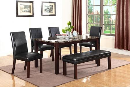 Otero Collection 107701-S6 6-Piece Dining Room Set with Rectangular Dining Table  4 Side Chairs and 1 Bench in Dark