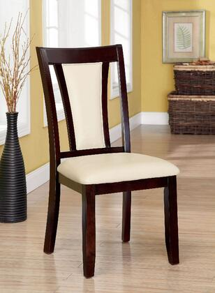 Brent Collection CM3984SC-2PK Set of 2 Modern Style Side Chair with Padded Leatherette Seat & Back in Dark Cherry and