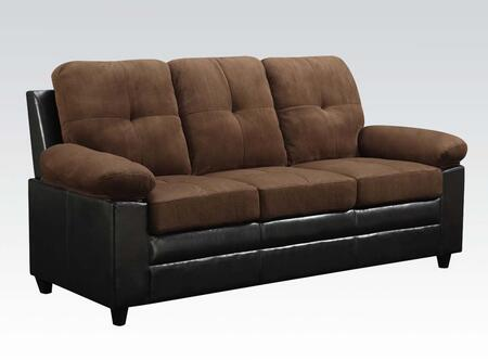 Santiana Collection 51365 81 inch  Sofa with Wood Frame  Tight Cushions  Pillow Top Arms and Bycast PU Leather Upholstery in Chocolate Easy Rider