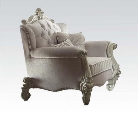 52107 Versailles Living Room Chair with 2 Pillows  2 Seat Cushions  Crystal Like Button Tufted Back and Ivory Velvet Upholstery in Bone