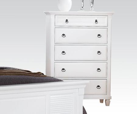 Merivale Collection 22426 38 inch  Chest with 5 Drawers  Metal Hardware  Poplar and Pine Wood Veneer Materials in White