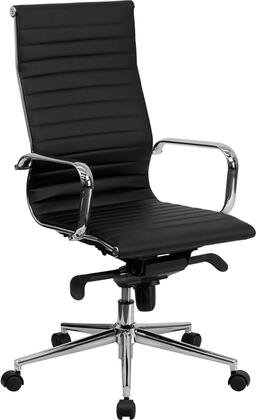 BT-9826H-BK-GG High Back Black Ribbed Upholstered Leather Executive Office